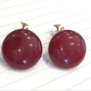 Vtg Maroon Button Earrings Signed Marbella